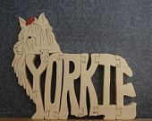 Yorkie Wood Pet Puzzle Cut On Scroll Saw Made With Aspen Hard Wood