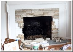 airstone fireplace, brick fireplace redo, airstone ideas, redo brick fireplace, fireplace cover, fireplace remodel, bore brick, stone fireplaces, fireplace makeovers