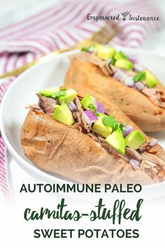 These Carnitas Stuffed Sweet Potatoes make a hearty but healthy meal. The recipe requires only a few minutes hands-on time, thanks to the slow cooker. Autoimmune Paleo and friendly. The Autoimmune Paleo Protocol is gluten-free, dairy-free, egg-free Paleo Sweet Potato, Sweet Potato Recipes, Pork Recipes, Lunch Recipes, Paleo Recipes, Real Food Recipes, Recipies, Dairy Free Eggs, Egg Free