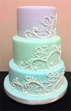 Pastel Colored Cake with Lace Motif