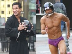 """The """"Extra"""" host shows off his skivvies after losing a Super Bowl bet.: Mario Lopez Strips Down to His Underwear - Celebuzz"""