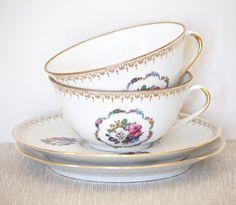 Pair St Lubin Porcelain Teacups by BeyondTheBrocante on Etsy