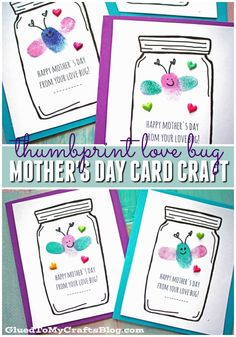 Mother's Day Love Bug Cards - Kid Craft - Mother's Day Love Bug Cards – Kid Craft - Gift Idea - Free Printable Included - Thumbprint Love Bugs - Fingerprint Butterflies - Kids Craft Tutorial - Handmade Card Idea for Kids To Recreate Mothers Day Crafts For Kids, Fathers Day Crafts, Mothers Day Cards, Happy Mother S Day, Mother And Father, Mother Day Gifts, Classroom Crafts, Preschool Crafts, Fun Crafts