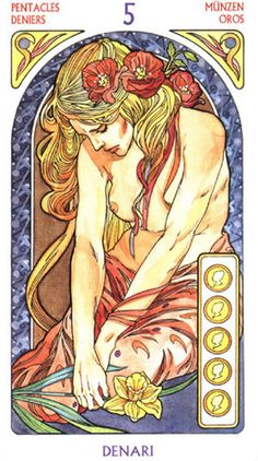 Tarot Art Nouveau ► Five of Pentacles
