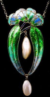 Creative Lalique Art Nouveau Antique Enamel and Pearl Pendant
