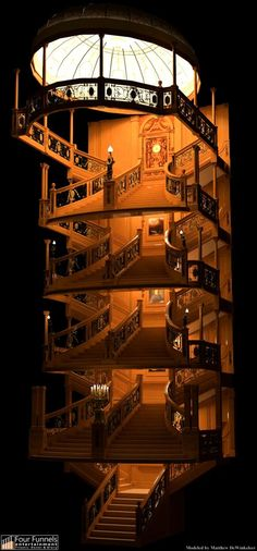 Staircase from the top deck to the bottom deck.