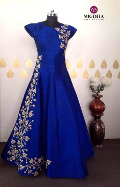 Dresses - Long gowns are back in mugdhas grab the one for your special occasions Beautiful royal blue color floor length dress with floret lata design hand embroidery thread work on yoke They can customise t Party Wear Dresses, Bridal Dresses, Ball Dresses, Wedding Dress, Indian Designer Outfits, Designer Dresses, Long Gown Dress, Long Gowns, Peplum Gown
