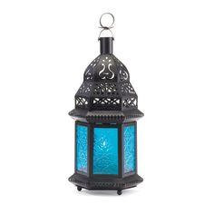 Blue Glass Candle Lantern