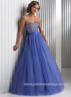 A-Line/Princess Strapless Long/Floor-length Empire Prom Dress With Draped (MF4217) - LuckyDresshop.com