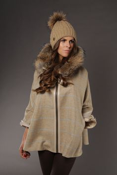 Featuring the tweed and fur Cape and tweed waistcoat www