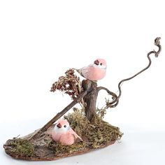 Pink Mushroom Birds in Woodland Setting
