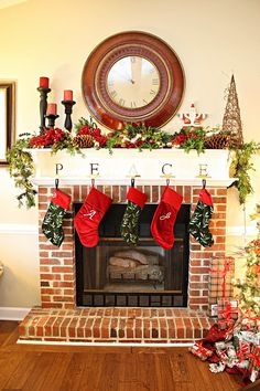 Our Christmas Mantel | Christmas fireplace mantels, Fireplace ...