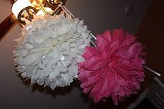 Gigantic Tissue Paper Flower Orby Hanging Balls  ~ use for Keegan's shower + baby's room when we have one!!!