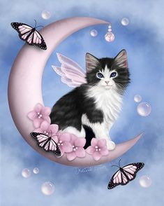 Kitty on the moon Cute Cats And Kittens, I Love Cats, Cool Cats, Kittens Cutest, Animal Gato, Image Chat, Kawaii, Here Kitty Kitty, Pretty Cats