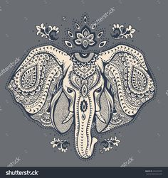 Vintage elephant illustration can be used as a greeting card - stock vector Head Tattoos, Body Art Tattoos, Sleeve Tattoos, Elephant Head Tattoo, Vintage Elephant, Indian Elephant Art, Tribal Elephant, Elephant Images, White Elephant