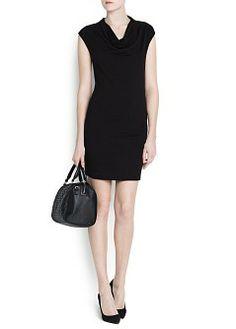 MANGO - CLOTHING - DRAPED NECKLINE DRESS
