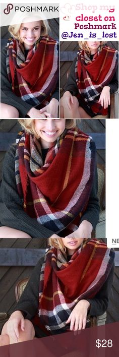 Plaid Scarf Fireplace warm tone plaid oversized frayed squared scarf.  58 X 58 100% ACRYLIC Accessories Scarves & Wraps