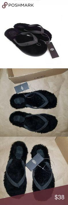 UGH BLACK FLIP FLOPS UGG black size 6 in box sheep fur flip flops UGG Shoes