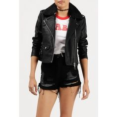 Obey Billie Vegan Leather Jacket ($129) ❤ liked on Polyvore featuring outerwear, jackets, black, vegan jackets, faux leather jacket, zip up jackets, motorcycle jacket and slim jacket