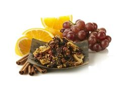 Champagne Sangria Punch Black Tea. Colorful as a drive along the Mediterranean coast, this flavored black is deep, complex and full of personality. Red rich grapes, tangy orange slices, juicy peach and crisp apple spring to life with a hint of sweet cinnamon, creating a magical elixir certain to awaken your tastebuds.