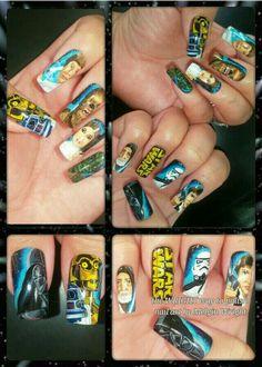 Star wars nail art with nail polish and acrylic paint! I hope, you enjoy them! Painted Nail Art, Hand Painted, Star Wars Nails, Disney Inspired Nails, Frozen Nails, Nail Polish, Facebook, Starwars, Harry Potter