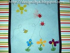 To make the Thumbprint Sun: paint or color a yellow circle at the top of the page. Using the index finger, make yellow oval shapes to form the sun's rays.To make the Thumbprint Flowers: Use pinky for the circle in the middle & index fingers (oval presses) for the petals and leaves. Paint a green...