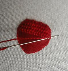 love this, embroider over (felt) applique. It saves a lot of little stitches to build up a solid layer underneath - - -