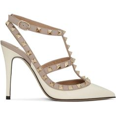 Valentino Ivory Patent Rockstud Cage Heels (45,330 PHP) ❤ liked on Polyvore featuring shoes, pumps, ivory, ivory pumps, pointed toe high heels stilettos, patent leather shoes, pointy toe ankle strap pumps and high heel stilettos