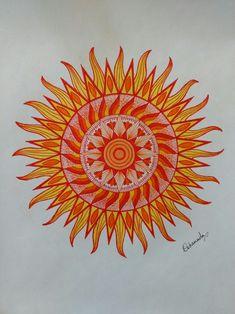 Sun mandala. Warm colors. Summer mandala. Mandala drawing by Debannita.