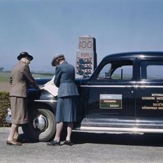 """National Geographic Staff on the road. """"On assignment in Denmark"""", 1947. Photo by Maynard Owen Williams, National Geographic Archives."""