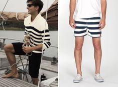 Símbolo náutica, a camiseta com listras horizontais em branco e azul-marinho é um clássico da moda masculina, perfeito para os dias de calor.