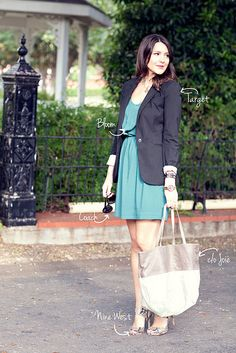 I like this a lot. dress, blazer, touch of animal print. simple and chic.