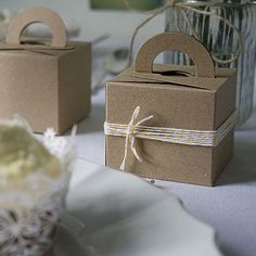 Set Of Ten Recycled Card Favour Boxes