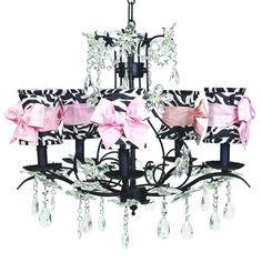 Cinderella Black Five-Light Chandelier with Hourglass Zebra with Sash Chandelier Shades