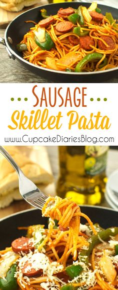 Sausage Skillet Pasta - A quick and easy weeknight meal! Hearty sausage is sliced and sauteed then tossed with vegetables and pasta for a quick and easy meal! Easy Family Meals, Easy Weeknight Meals, One Pot Meals, Quick Easy Meals, Potluck Recipes, Dinner Recipes, Cooking Recipes, Easy Pasta Dishes, Food Dishes