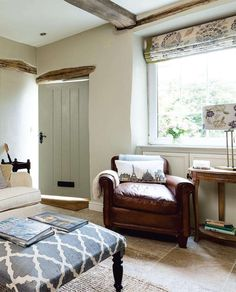Modern Country Style: House Tour: Small Country Cottage Click through for details. - Example of flags and rug Small Cottage Interiors, Cottage Living Rooms, Home And Living, Modern Cottage Decor, Cottage Doors Interior, Farmhouse Decor, Farmhouse Small, Country Interiors, Country House Interior