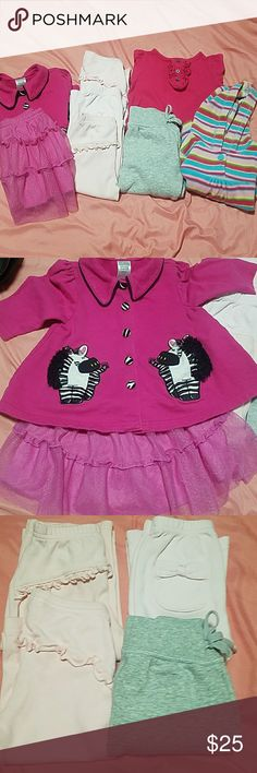 Bundle of 8 pieces girls size 12 months Bundle of 8 pieces....  3 pair pink Carter pants 1 gray pair Okie-dokie sweat pants 1 Carter dark fuschia long sleeve shirt     w/ ballet shoes on the bottom 1 fuscbia club class baby button down shirt with zebra buttons and zebra on bottom of the shirt 1 Fisher price hoodie with multi color stripes  1 inside of brand dark pink skirt with silver sparkles all over it. Very cute. Skirt lining 100% polyester, short part underneath cotton/polyester…