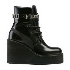 Puma SNEAKER BOOT WEDGE (465 AUD) ❤ liked on Polyvore featuring shoes, boots, puma shoes, puma footwear, rugged shoes, lace up wedge shoes and lace up shoes