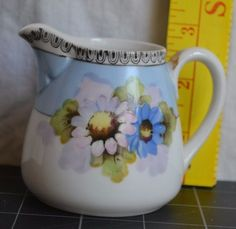"""Vintage Morimura Brothers Hand Painted wFlowers Noritake Pitcher - 3"""" Tall"""