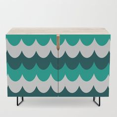 Blue Waves Credenza by Credenza, Valance Curtains, Waves, Cabinet, Storage, Blue, Furniture, Home Decor, Products