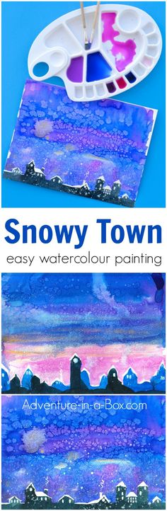 Learn how to paint a snowy town with watercolours in a simple and fun way that appeals to children. This technique introduces masking tape as a useful tool in watercolour painting. #kidsart #watercolour #watercolor