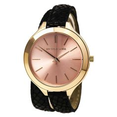 Michael Kors MK2322 Women's Slim Runway Rose Gold Dial Rose Gold Steel Black Leather Strap Watch - Discount Watch Store