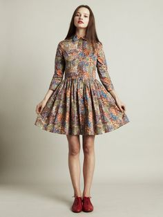 Paint by numbers dress in ladders print MADE TO ORDER by Nadinoo, £155.00