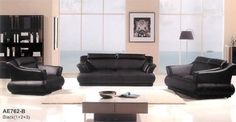 """3pc Contemporary Modern Leather Sofa Set #AM-762-BK by UTM. $2199.00. All corners are """" blocked"""", nailed and glued for strength and durability. UTM 3 pcs contemporary modern leather sofa set will include ONE sofa + ONE love + ONE CHAIR. All of the seats and backs are high density (1.9) foam to give comfort and support. It is made of 100% selected premium soft bonded leather.. Solid wood frame use in the sofa construction. Available Colors See above picture, IVORY, YELLOW & B..."""