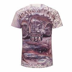 2016 New Summer Men T-Shirt 3D Creative Print USA motorcycle Men Hip hop t 5fb8fe65248