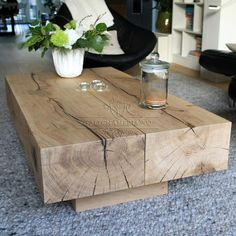 Tavolini : Tavolino Line: tavolo da salotto realizzato con travi di castagno