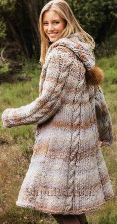 www.SHPULYA.com - Пальто из кос с капюшоном, вязаное спицами