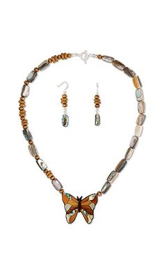 Good Coloured Wooden Butterfly And Bead Necklace And Bracelet Set Clients First Jewellery & Watches