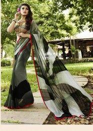Casual Wear  Georgette Grey Printed Saree