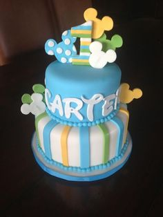 Baby Mickey Mouse 1st Birthday cake.  Original design by Lil Miss Cakes